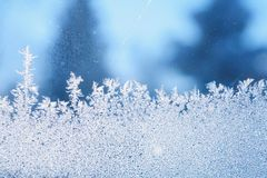 Ice frost window. The patterns made by the frost on the window (hoarfrost background Royalty Free Stock Photos