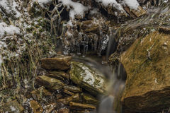 Ice frosty winter creek on Jested hill Stock Image