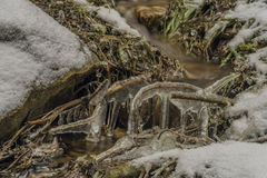 Ice frosty winter creek on Jested hill Royalty Free Stock Photography