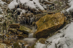 Ice frosty winter creek on Jested hill Stock Photo