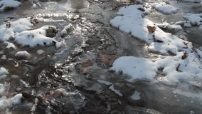 Ice on Frozen Creek with sound stock footage