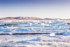 Ice on the frozen lake. Royalty Free Stock Photos