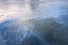 Ice on frozen river. Stock Photo