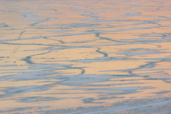 Ice of a frozen river. Thick solid layer of ice of a frozen river Stock Image