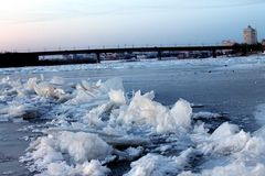 Ice. Frozen River. Winter evening. Winter Omsk royalty free stock photo