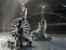 Ice frozen at spraying well Royalty Free Stock Images