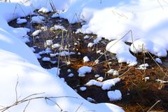 Ice, frozen in the stream bed, blocks normal groundwater discharge, and causes the local water table to rise, resulting in water. A stream is a body of water Royalty Free Stock Images