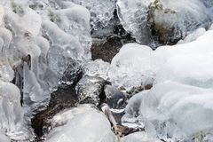 Ice frozen stream water freeze formation. Snow royalty free stock photos
