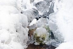 Ice frozen stream water freeze formation snow. Close-up royalty free stock image