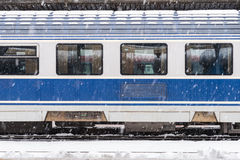 Ice Frozen Train During Heavy Snowfall Stock Image