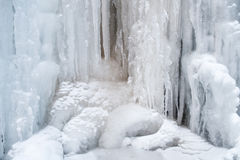Ice, Frozen at waterfall cascade in mountain Mecsek Stock Images