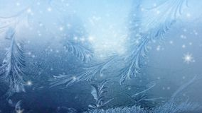 Ice on frozen window texture with snowflakes stock footage