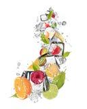 Ice fruit on white background Royalty Free Stock Photo