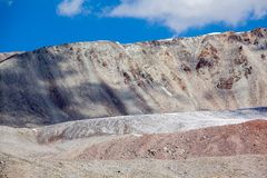 Ice glacier in colored mountains. Tien Shan Royalty Free Stock Photos