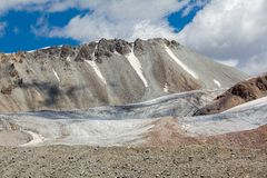 Ice glacier at Kok-Airyk pass in Kyrgyzstan Royalty Free Stock Photo