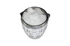 Ice in a glass bowl. Isolated ice in a glass bowl royalty free stock image