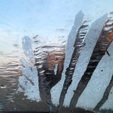 Ice in the glass. Of my car in a very cold morning Royalty Free Stock Photos