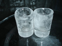 Ice glasses. Glass made of ice on ice table Royalty Free Stock Images