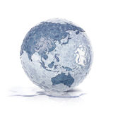 Ice globe 3D illustration asia and australia map Stock Photography