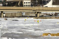 Ice golf course in Duluth, Minnesota stock photography