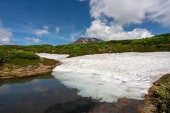 Ice gracier with Asahidake peak under beautiful blue cloudy sky. Ice gracial with Asahidake peak under beautiful blue cloudy sky, Asahikawa, Hokkaido,Japan Stock Image