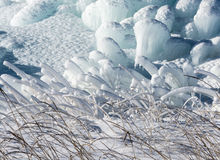 Ice and grass. Single blade of grass covered with a thick layer of emerald ice and white snow Royalty Free Stock Images