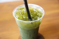 Iced grean tea. In close up stock photography