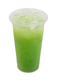 Ice green tea with apple fruit and yogurt in takeaway glass Stock Images