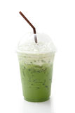 Ice green tea in takeaway cup Royalty Free Stock Photos