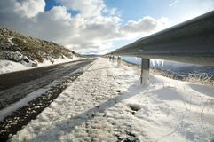 Ice on guard rails Royalty Free Stock Photos