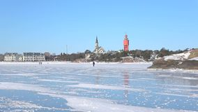 On the ice of the Gulf of Finland, February day. Hanko, Finland. On the ice of the Gulf of Finland on a Sunny February day. Hanko, Finland stock footage
