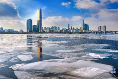 Ice of Han river and cityscape in winter,Seoul in Korea. Stock Photo