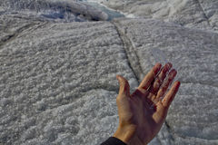 Ice in hand. Photo taken at Mendenhall glacier, while on tour. The ice flake in hand is a small example of the massive ice field that spans the entire glacier Stock Photos