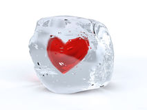 Ice heart. 3d illustration of frozen heart inside melting ice cube Stock Images