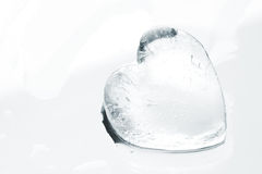 Ice heart close-up. Melting ice heart on a glass surface Royalty Free Stock Photography
