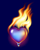 Ice heart in fire. Ice heart melt in fire Royalty Free Stock Images