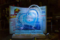 Ice heart. The melting ice heart with Teilor ring insited. Pro FM Valentine's day campaign Stock Photo