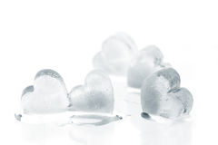 Ice hearts. With bubbles of air in them, isolated on white Royalty Free Stock Image