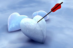 Ice hearts pierced by arrow Stock Image