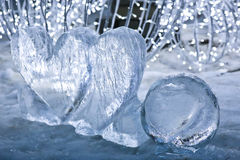 Ice hearts on snow Stock Photo