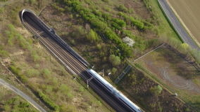 ICE high speed train tunnel. ICE high speed train drives through a tunnel stock footage