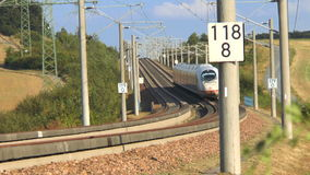 ICE highspeed train railroad track. Werschau, Germany - August 30, 2016: Approaching german highspeed train (ICE) on the Frankfurt-Cologne train line. ICE stock video