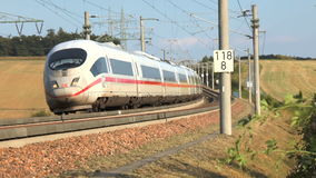 ICE highspeed train railroad track. Werschau, Germany - August 30, 2016: Approaching german highspeed train (ICE) on the Frankfurt-Cologne train line. ICE stock footage