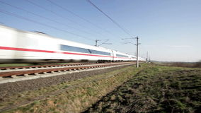 ICE Highspeed train. Wallau, Germany - March 10, 2014: A passing german highspeed train on the Frankfurt-Cologne line near Wallau, Germany. The maximum speed of stock video