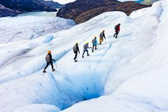 Ice Hikers on Gray Glacier in Patagonia stock images