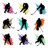 Ice hockey. Set of ice hockey player silhouette vector Stock Photo