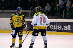 Ice hockey. ZELL AM SEE, AUSTRIA - FEB 22: Austrian National League. Remi Royer instigating fight at the end of the game. Game EK Zell am See vs. VEU Feldkirch ( stock photo