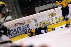 Ice hockey. ZELL AM SEE, AUSTRIA - FEB 22: Austrian National League. Stefan Uhl injured after a cheap shot by Remi Royer. Game EK Zell am See vs. VEU Feldkirch ( stock photos