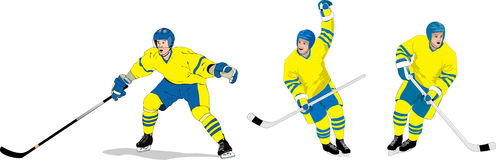 Ice hockey. Players in action on ice Stock Photography