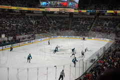 Ice hockey action with packed crowd Royalty Free Stock Photo